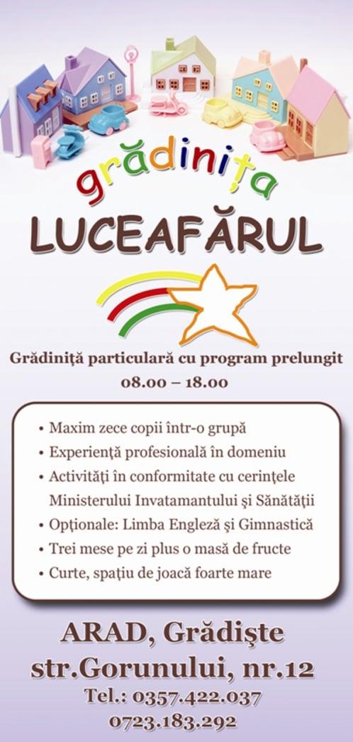 Gradinita particulara privata cu program prelungit Luceafarul Arad